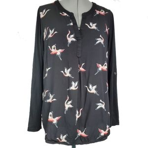 Dr2 mixed media blouse with Chinese cranes